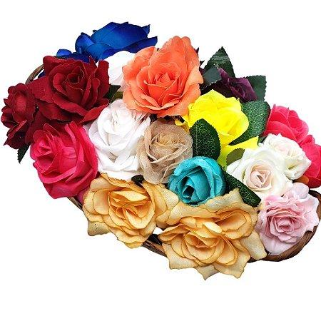 Kit 20 Porta Guardanapos Cesta de Flores Botão de Rosas da Charlô I