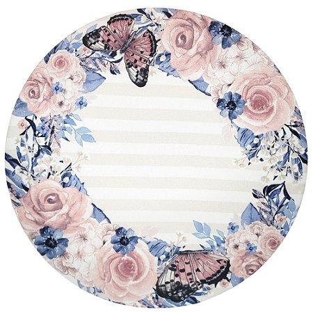 Kit 4 Capas para Sousplat Ring Floral Borboleta 35cmx35cm