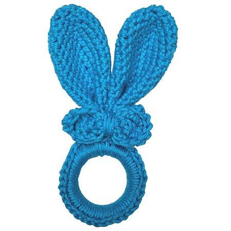 Kit 4 Porta Guardanapos Amigurumi Orelha Coelho da Páscoa Azul Turquesa