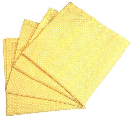 Kit 4 Guardanapos de Tecido Algodão Poá Amarelo 39cmx39cm