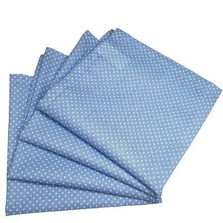 Kit 4 Guardanapos de Tecido Algodão Poá Azul 39cmx39cm