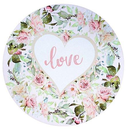 Kit 4 Capas para Sousplat Floral Love 35cmx35cm