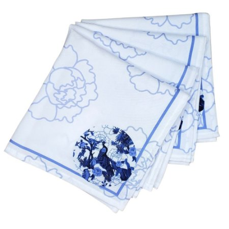 Kit 4 Guardanapos de Tecido Pavão Azul 40cmx40cm