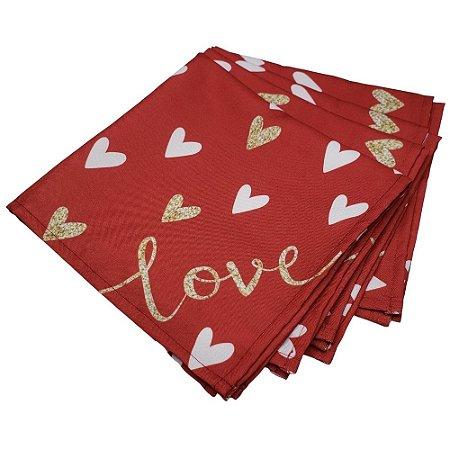 Kit 4 Guardanapos de Tecido Coração Love Vermelho 40cmx40cm