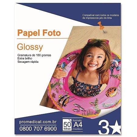 Papel Glossy A4 50 Folhas 180Gr