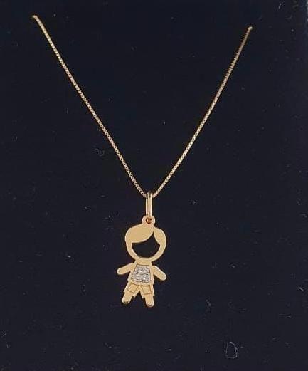 Corrente de Ouro Veneziana 45cm com Pingente de Ouro Menino com Diamantes