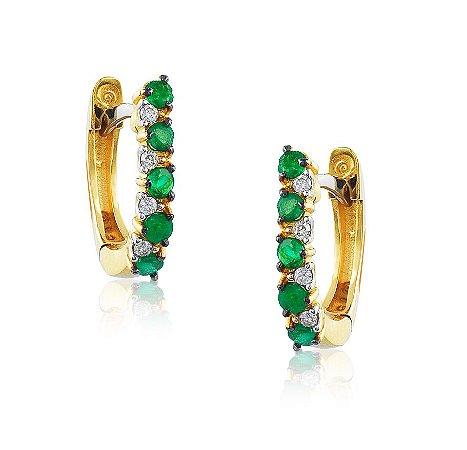 Brinco Ouro Trava Esmeralda e Diamantes