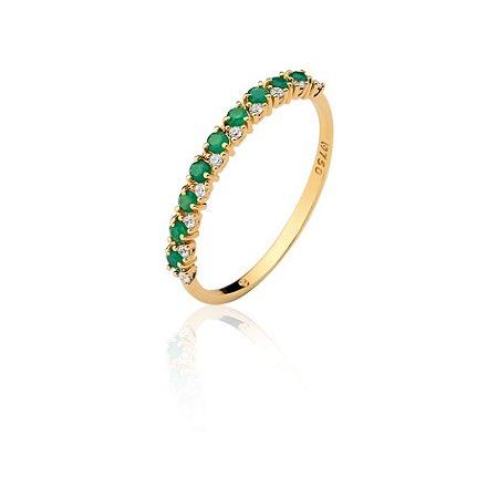Anel Ouro Meia Esmeraldas e Diamantes