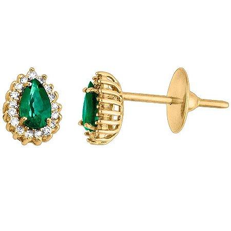 Brinco Ouro Gota Esmeralda com Diamantes