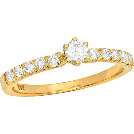 Anel Ouro Solitário Diamante