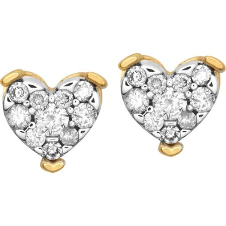 Brinco Ouro Coração Com Diamantes