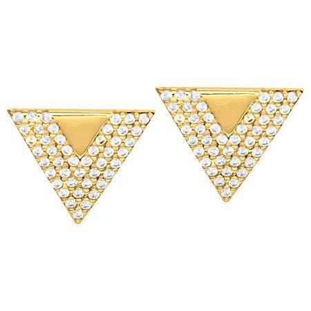 Brinco Ouro Triângulo com Zircônia