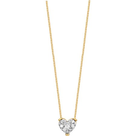 Gargantilha Ouro Coração com Diamantes