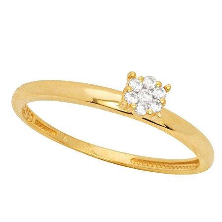 Anel Ouro Chuveiro 7 Diamantes