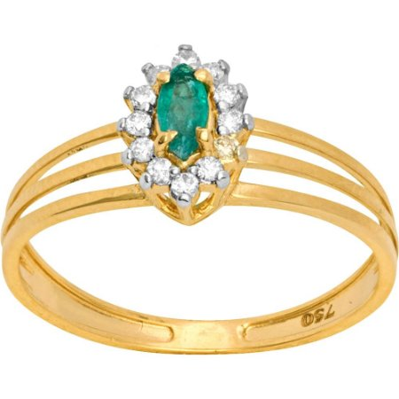 Anel Ouro Esmeralda e Diamantes