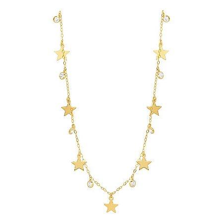 Gargantilha Ouro Estrelas Com Zircônia