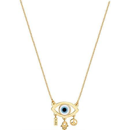 Gargantilha Ouro Olho Grego com Penduricalhos