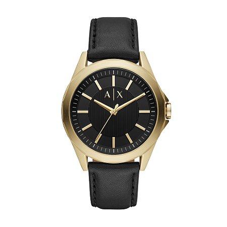 Relógio Armani Masculino Dourado Pulseira Couro