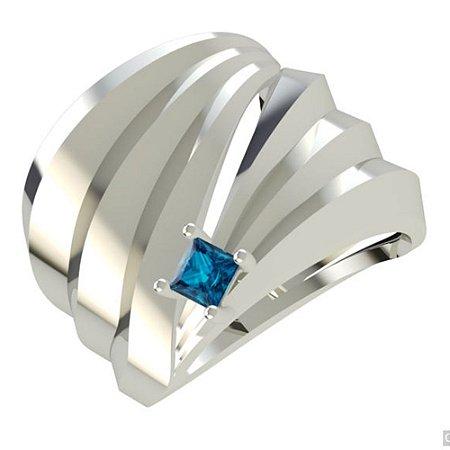 Anel Prata Canelado Com Topázio Azul