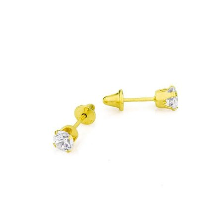 Brinco Ouro Calice Zirconia 3Mm Press Baby