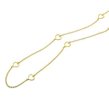 Gargantilha Ouro Coraçoes Vazados