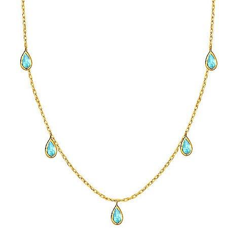 Gargantilha Ouro Gota Topazio Azul