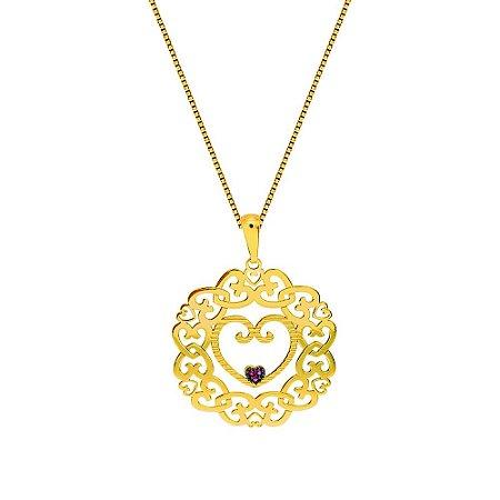 Pingente Ouro Mandala Corações e Rubi