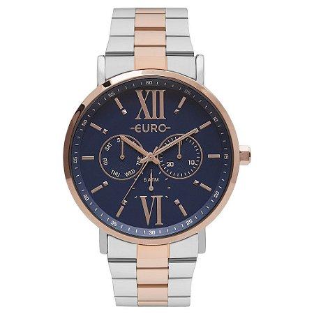 Relógio Euro Femino Prata e Rose