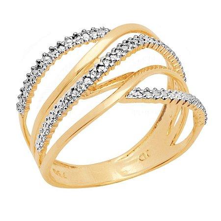 Anel Ouro Aros Diamantes