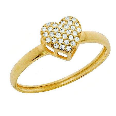 Anel Ouro Chuveiro Coração Zircônia