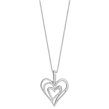Pingente Ouro Branco Coração Vazado 3 Diamantes