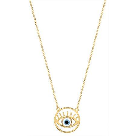 Gargantilha Ouro Olho Grego Com Madrepérola