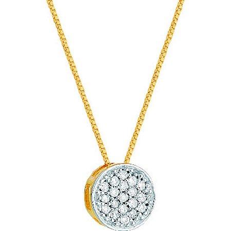 Gargantilha Ouro Chuveiro Rodio 19 Diamantes