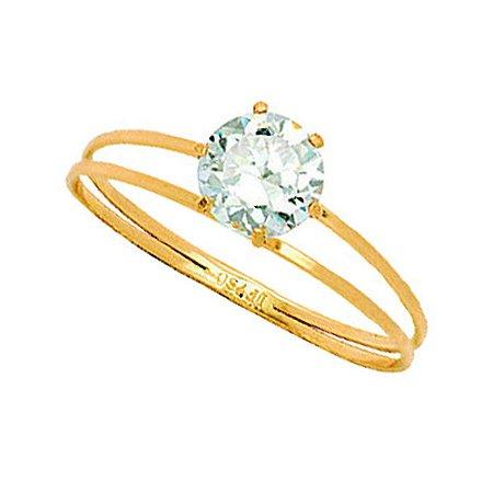 Anel Ouro Calice Zirconia 6Mm
