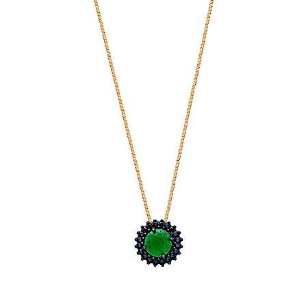 Pingente Ouro Zirconia Verde Negra
