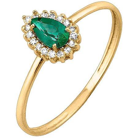 Anel Ouro Esmeralda 3x5 com Diamante