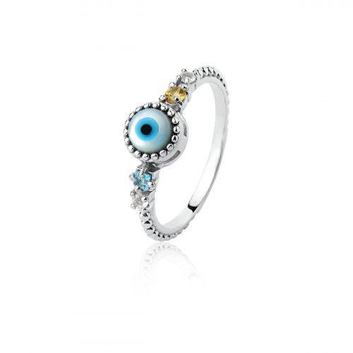 Anel Prata Olho Grego com Pedra Natural
