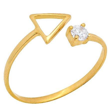 Anel Ouro Triângulo c/ Zircônia