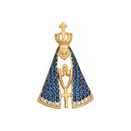 Pingente Ouro Nossa Senhora Aparecida Zircônia