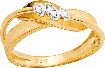 Anel Ouro Fosco e Polido com Diamante