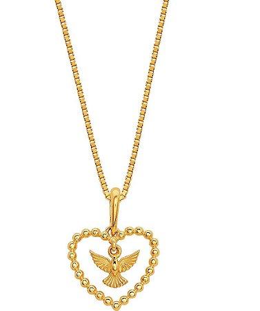 Pingente Ouro Coração Divino Espirito Santo