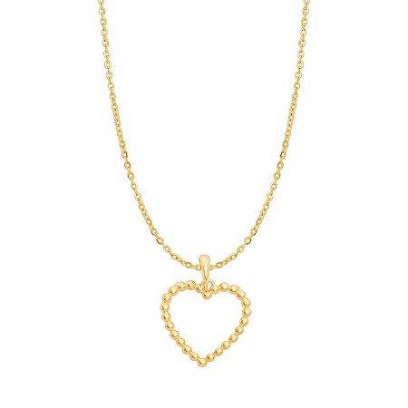 Pingente Ouro Coração Bolinha