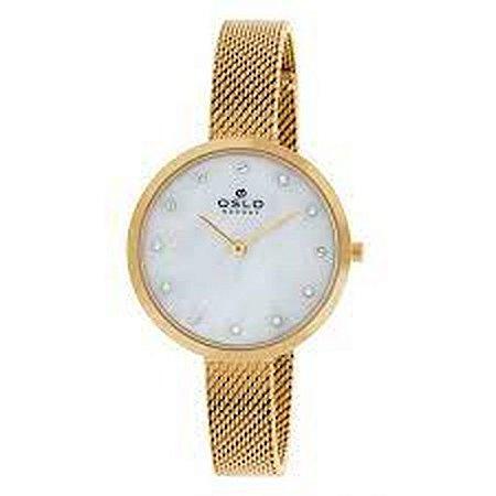 Relógio Oslo Dourado Mostrador Madrepérola