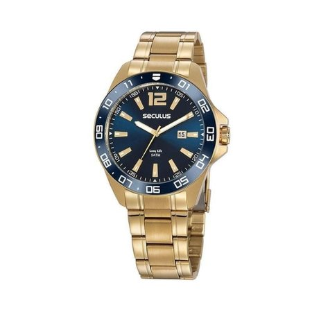 Relógio Seculus Dourado Mostrador Azul