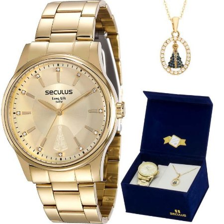 Relógio Seculus Dourado Kit