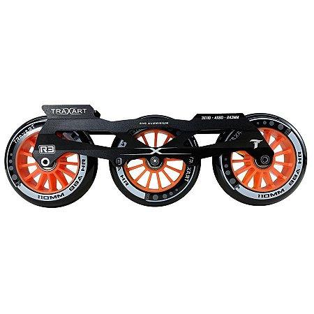 Base Traxart para patins Inline Híbrida DX-007 com 6 rodas 110mm/88a R3 Pretas Abec 11