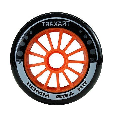 Rodas Traxart R3 110mm/88a Para patins Inline - High Rebound Preta  (jogo com 3)