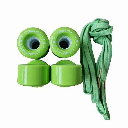 8 Rodas HD inline Quad Cherry + Par de cadarços / Verde