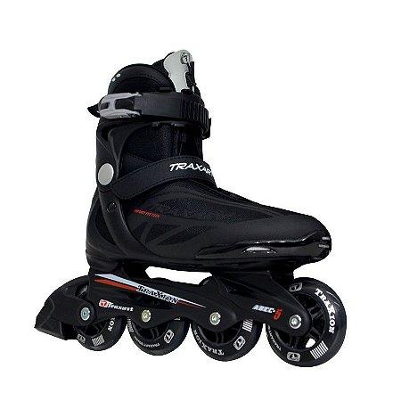 Patins Traxart Traxion Passeio Fitness - Preto com vermelho rodas 80mm
