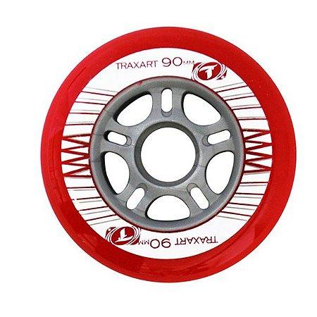 Rodas Traxart Dn 375 - 90mm 83a - Vermelha Patins Inline (4 rodas)
